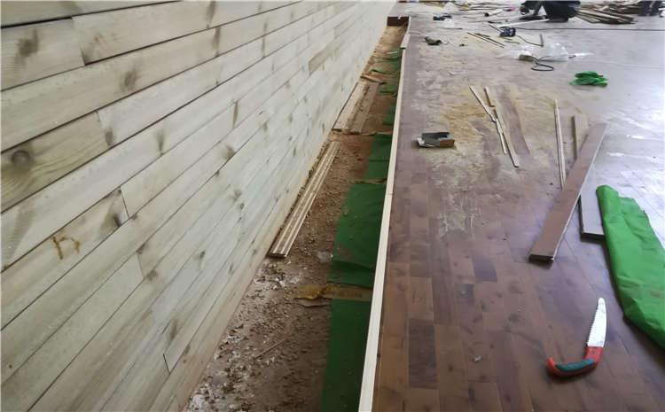 柞木舞台木地板翻新