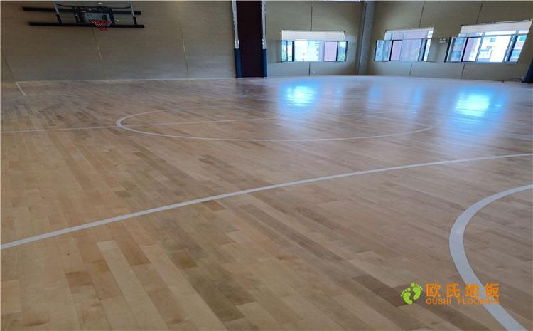 山东淄博潘庄某中学篮球馆木地板案例